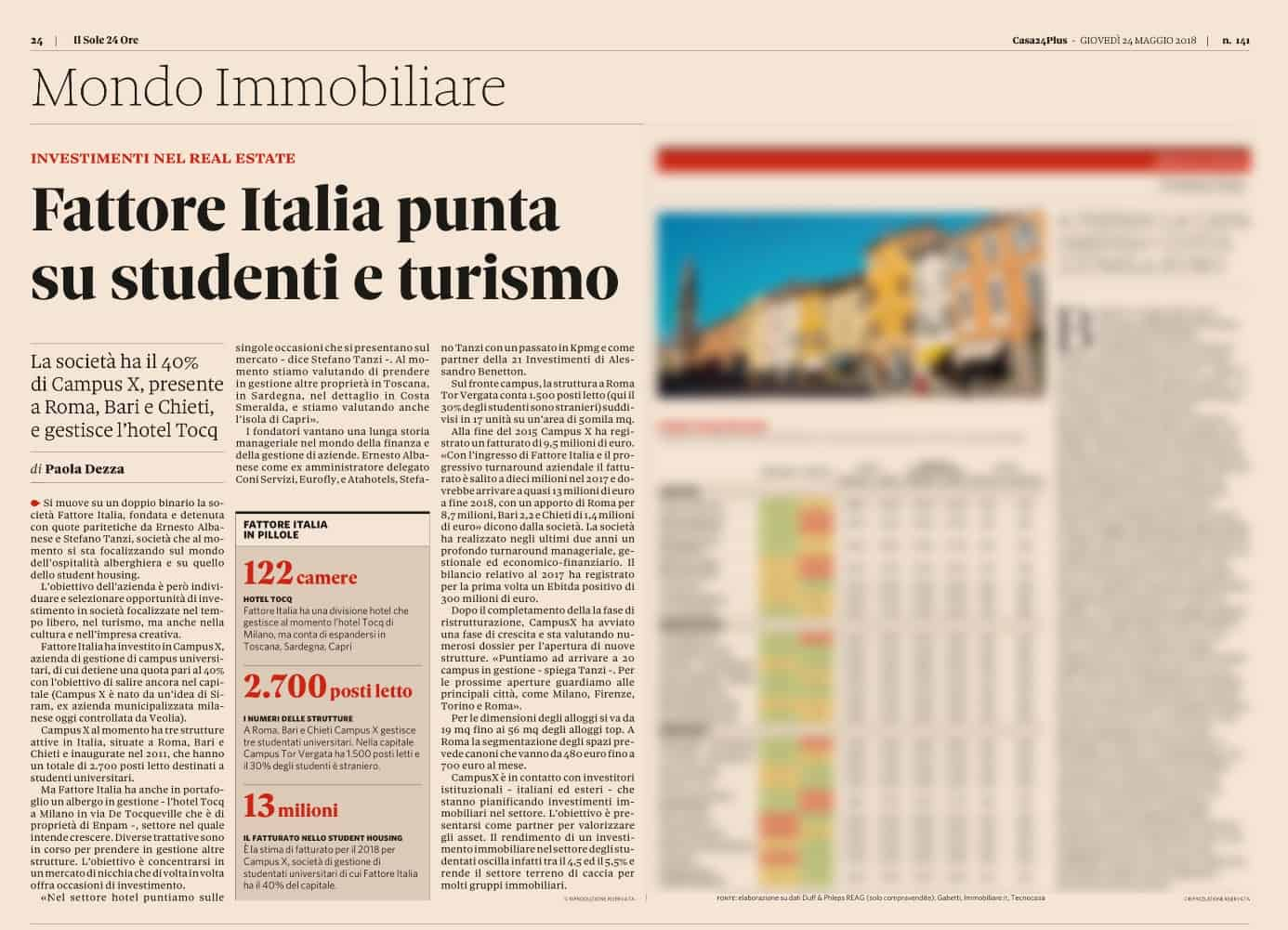 Fattore Italia focuses on students and tourism
